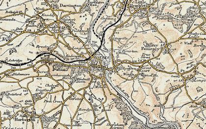 Old map of Totnes in 1899