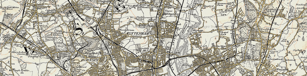 Old map of Tottenham in 1897-1898