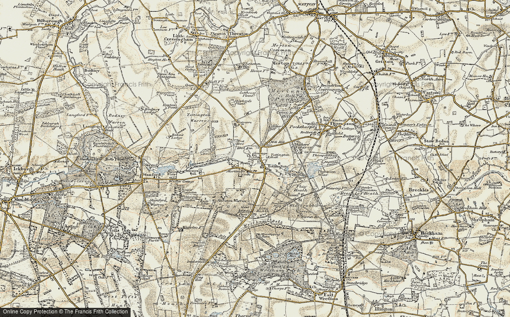 Old Map of Historic Map covering Tommy's Belt in 1901-1902
