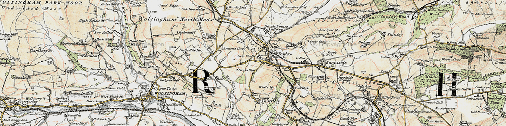 Old map of Tow Law in 1901-1904