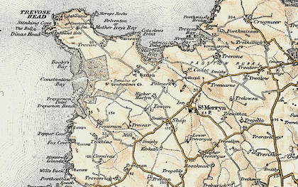 Old map of Towan in 1900