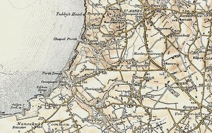 Old map of Towan Cross in 1900