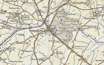 Old map of Towcester in 1898-1901