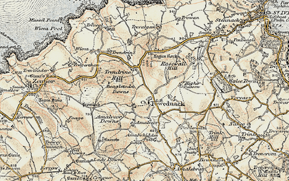 Old map of Towednack in 1900