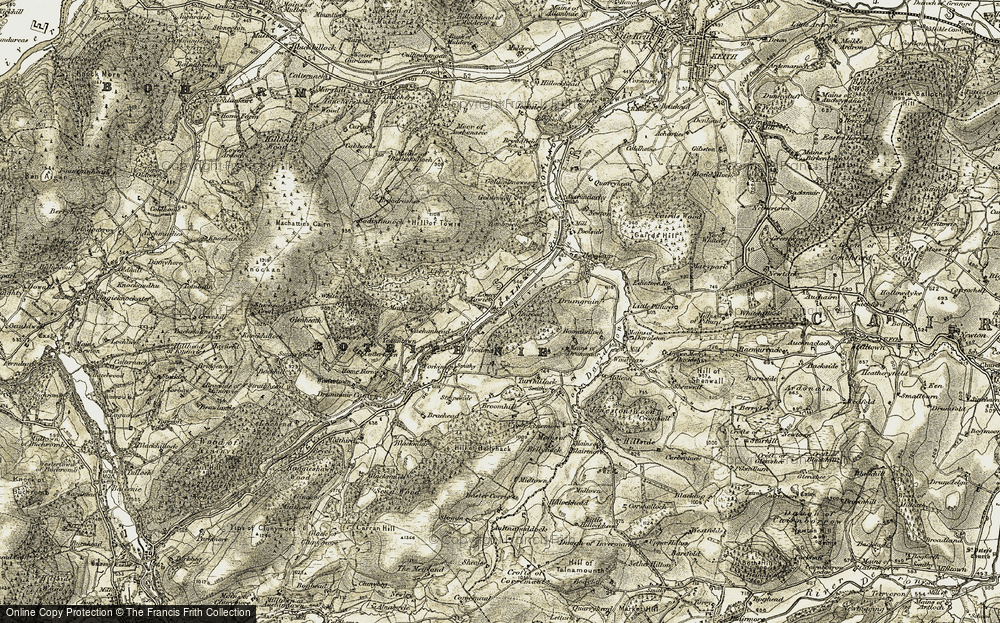Old Map of Historic Map covering Tombreck Wood in 1908-1910