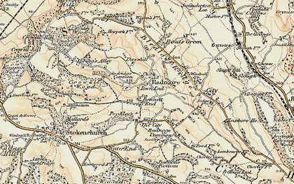 Old map of Town End in 1897-1898