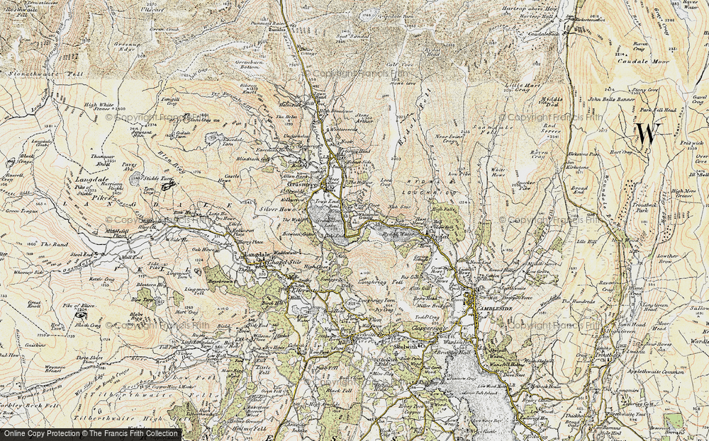 Old Map of Historic Map covering Alcock Tarn in 1904