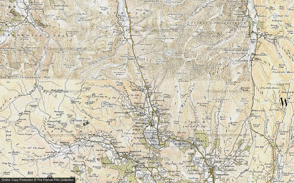 Old Map of Historic Map covering Tongue Gill in 1904