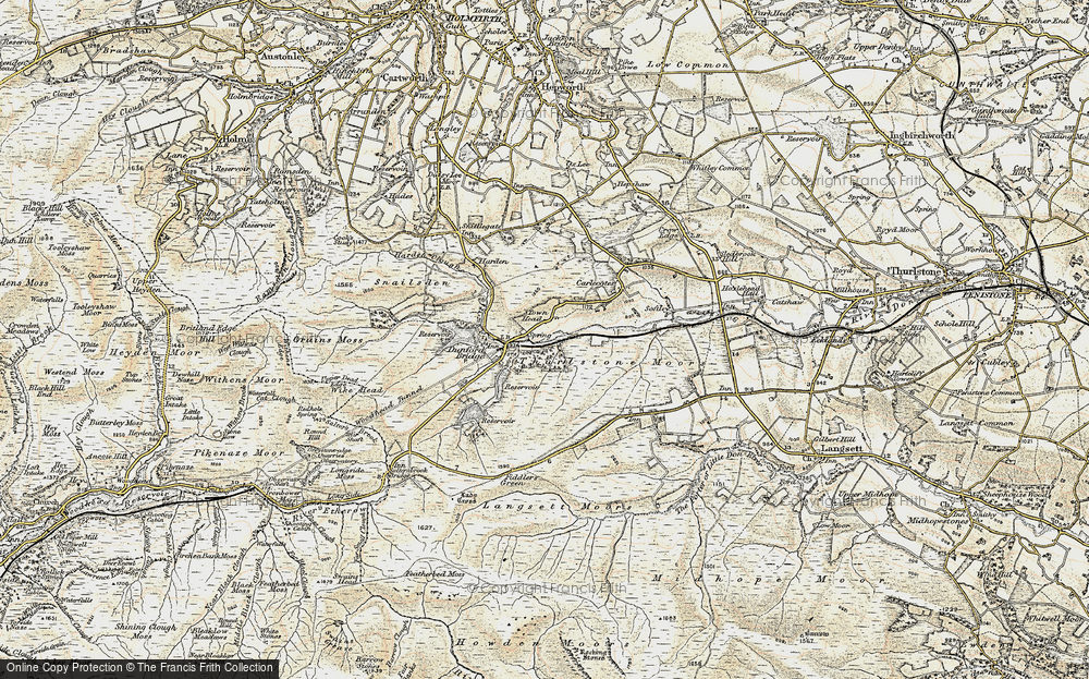 Old Map of Historic Map covering Laund Clough in 1903