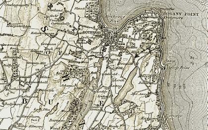 Old map of Ashfield in 1905-1907