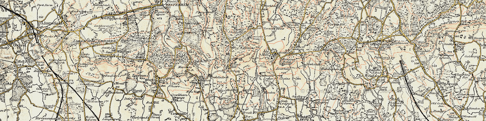 Old map of Toy's Hill in 1898-1902