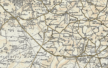 Old map of Traboe in 1900