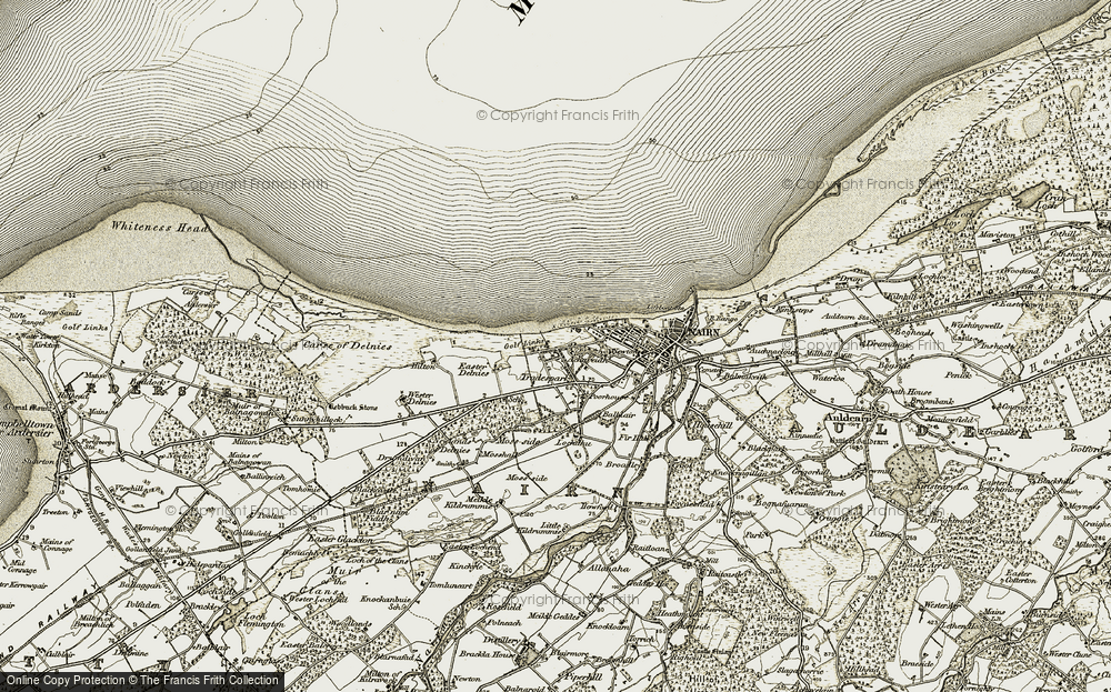 Old Map of Historic Map covering Achareidh in 1911-1912