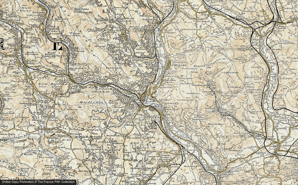 Old Map of Historic Map covering Y Carreg Siglo in 1899-1900