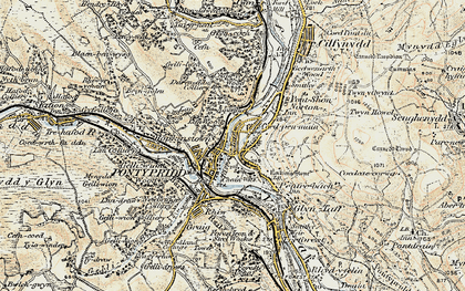 Old map of Y Carreg Siglo in 1899-1900