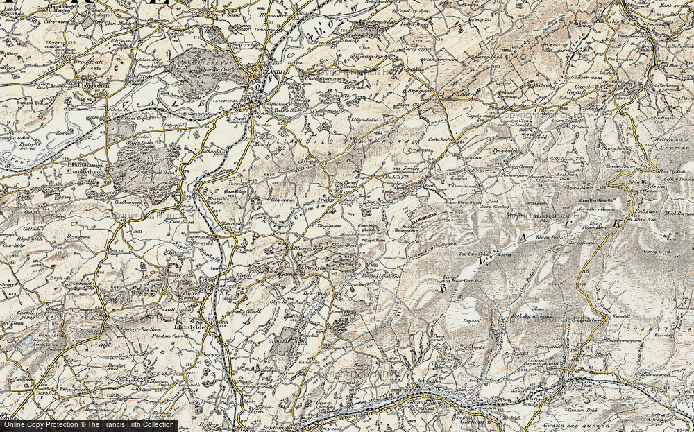 Old Map of Historic Map covering Afon Cennen in 1900-1901