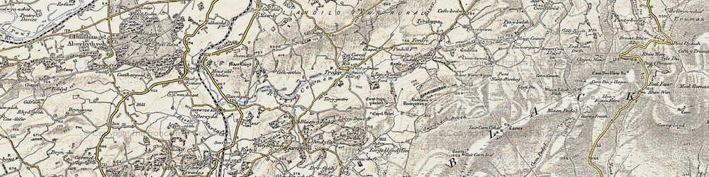 Old map of Afon Cennen in 1900-1901