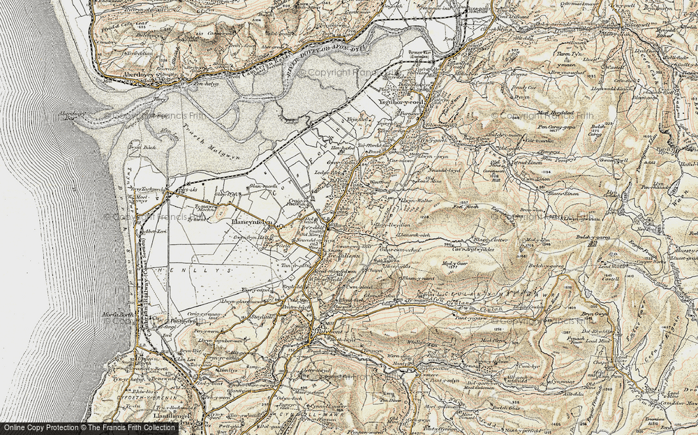 Old Map of Historic Map covering Afon Cetwr in 1902-1903