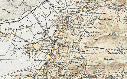 Old map of Afon Cetwr in 1902-1903