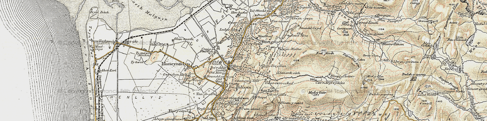 Old map of Ynystudor in 1902-1903