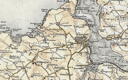 Old map of Treator in 1900