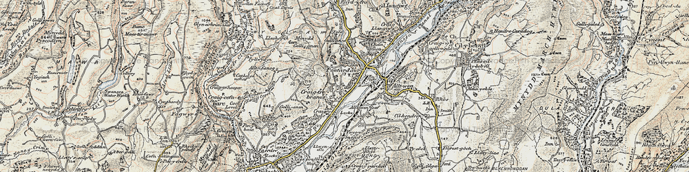 Old map of Trebanos in 1900-1901