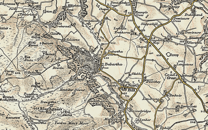Old map of Trebartha in 1900