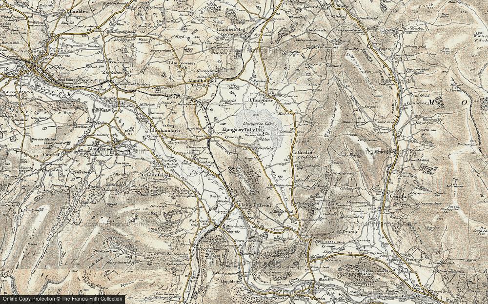 Old Map of Historic Map covering Allt y Esgair in 1899-1901