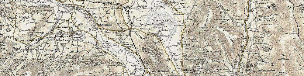 Old map of Allt y Esgair in 1899-1901