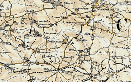 Old map of Trebudannon in 1900