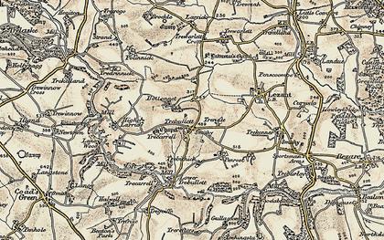 Old map of Trebullett in 1899-1900