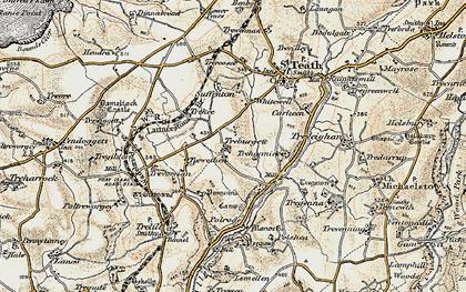 Old map of Treburgett in 1900