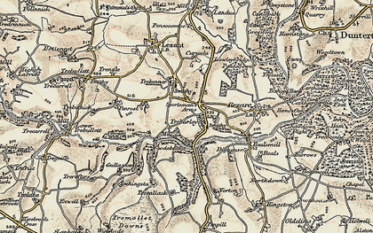 Old map of Treburley in 1899-1900