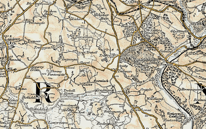 Old map of Trebyan in 1900