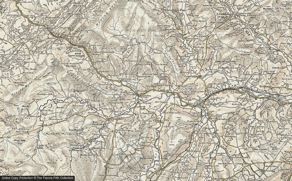 Old Map of Historic Map covering Abercrai in 1900-1901