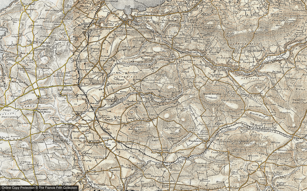 Old Map of Historic Map covering Allt yr Yn in 1901-1912