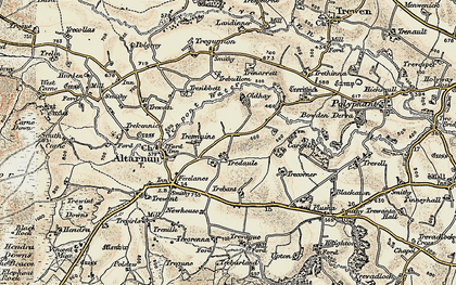 Old map of Tredaule in 1900