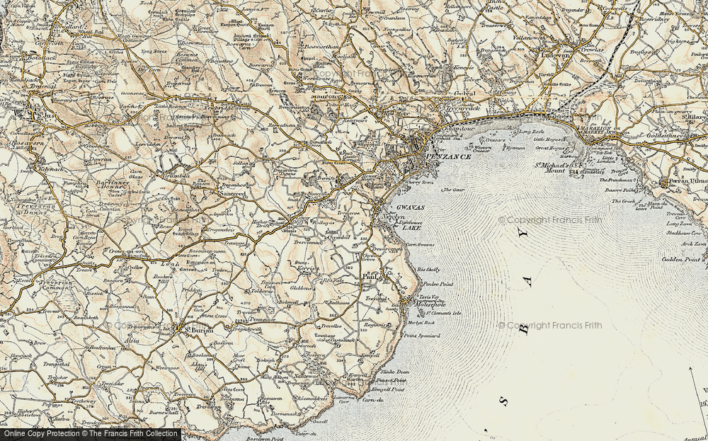 Old Map of Historic Map covering Tolcarne in 1900