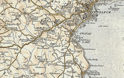 Old map of Tredavoe in 1900