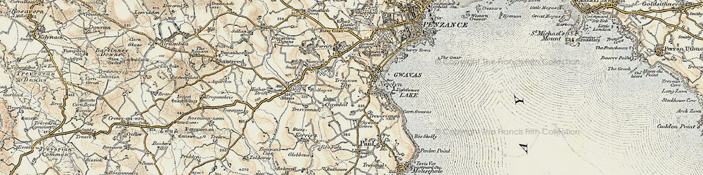 Old map of Tolcarne in 1900