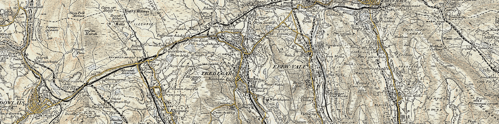 Old map of Tredegar in 1899-1900