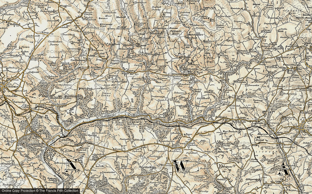 Old Map of Historic Map covering Ley in 1900