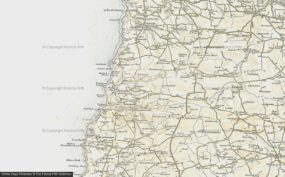 Old Map of Historic Map covering Linton in 1900