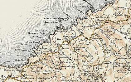 Old map of Treen in 1900