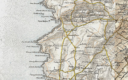 Old map of Ynys Melyn in 1901-1912
