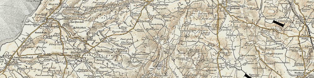 Old map of Afon Tryal in 1901-1903
