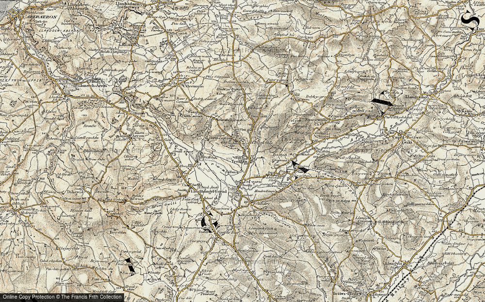 Old Map of Historic Map covering Afon Aeron in 1901-1903