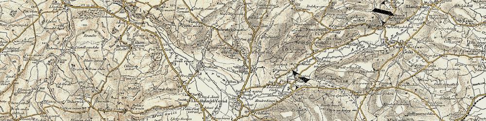 Old map of Afon Aeron in 1901-1903