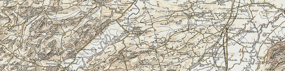 Old map of Y Gaer in 1902-1903