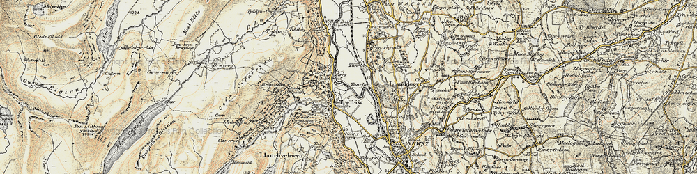 Old map of Trefriw in 1902-1903